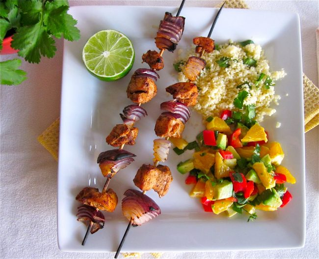chicken kabobs with nectarine salsa recipe