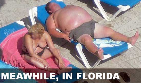 Very fat man and woman taking a sun bath