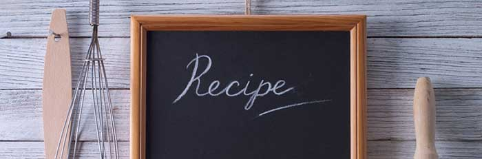 Recipe written on a black board