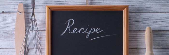 Recipe written on black board